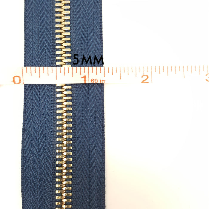 Glossy 5MM or 8MM One-Way Separating Open Bottom Zipper, Navy/Gold | 4 Inch to 28 Inch Length