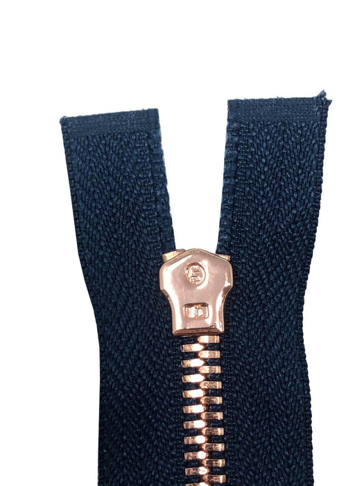Glossy 5MM One-Way Separating Open Bottom Zipper, Navy/Rose Gold | 4 Inch to 28 Inch Length