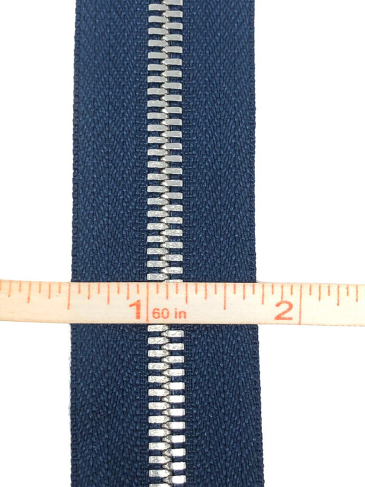 Glossy 5MM One-Way Separating Open Bottom Zipper, Navy/Silver | 4 Inch to 28 Inch Length