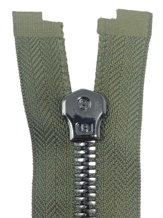 Glossy 8MM One-Way Separating Open Bottom Zipper, Olive Green/Gun Metal | 4 Inch to 28 Inch Length