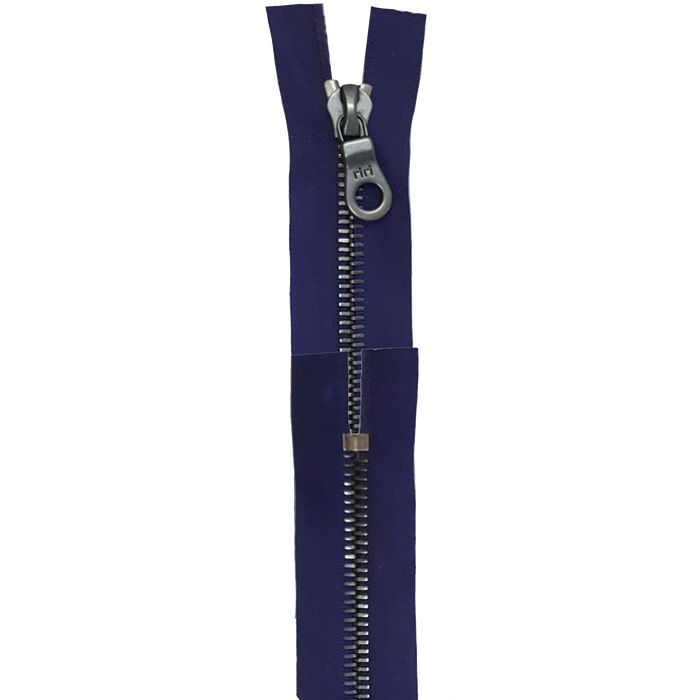 Riri 8MM Closed Bottom Zipper with KTA Pull, Purple/Gun Metal