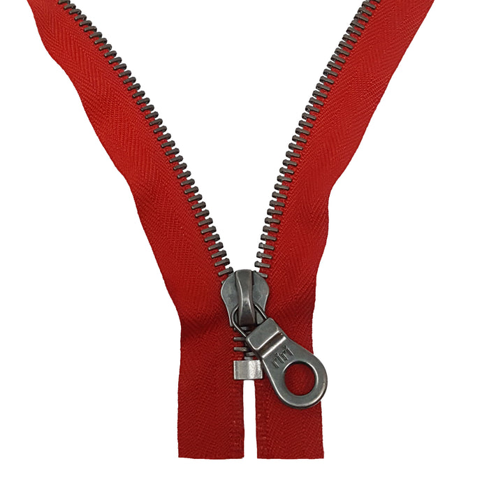 Riri 8MM Closed Bottom Zipper with KTA Pull, Red/Antique Nickel