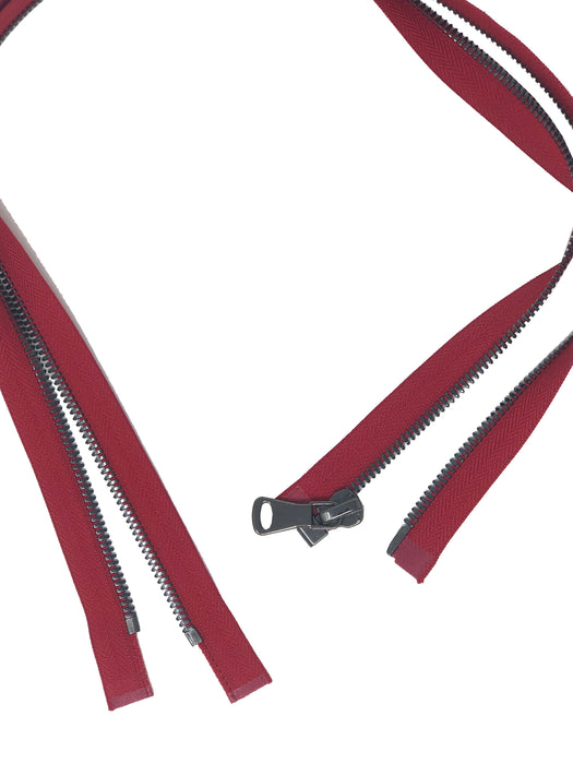 Glossy 5MM or 8MM One-Way Separating Open Bottom Zipper, Red/Gun Metal | 4 Inch to 28 Inch Length