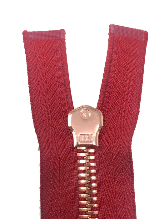 Glossy 8MM One-Way Separating Open Bottom Zipper, Red/Rose Gold | 4 Inch to 28 Inch Length
