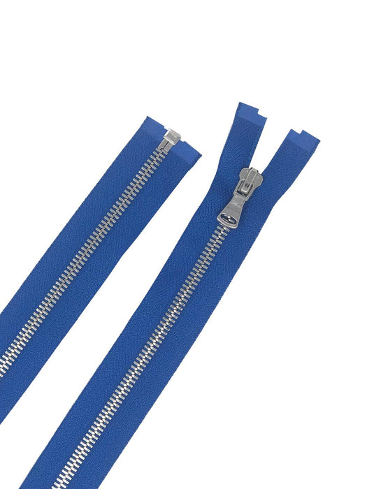Glossy 5MM One-Way Separating Open Bottom Zipper, Royal Blue/Silver | 4 Inch to 28 Inch Length