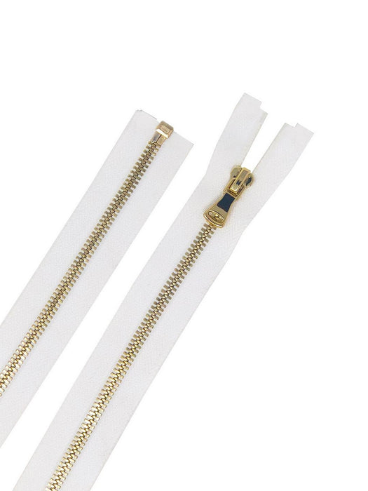 Glossy 5MM One-Way Separating Open Bottom Zipper, White/Gold | 4 Inch to 28 Inch Length