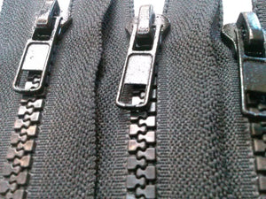 Black Molded Plastic Zippers 10 Inches 5MM Closed Bottom