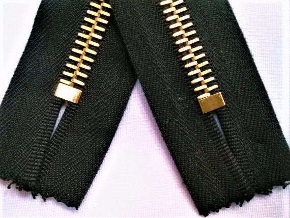Black Riri Zipper 7 Inches 8MM Brass Teeth Closed Bottom - ZipUpZipper