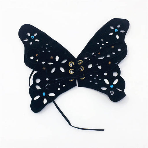 Black Butterfly Faux Suede Sew On Patch - ZipUpZipper