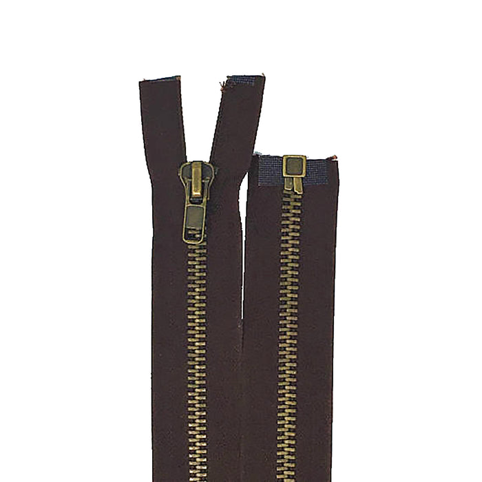 Brown 10MM Antique Brass Open Bottom Jacket Zipper 22""