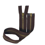 "Brown 10MM Antique Brass Open Bottom Jacket Zipper 22"" - ZipUpZipper"