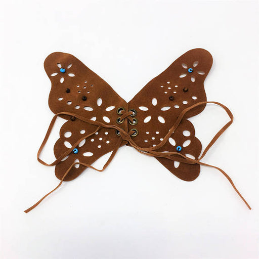 Brown Butterfly Faux Suede Sew On Patch - ZipUpZipper