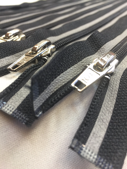 Black + Grey Striped 22 Inch Reflective Nylon Coil #5 Open, Separating Jacket Zipper - ZipUpZipper