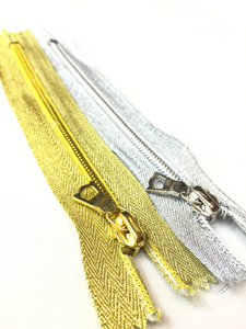 Metallic Gold OR Silver 5MM 6 inch Coil Pocket Zipper Closed Bottom