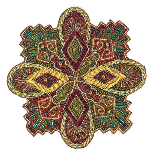 "Embroidered Beaded Ornate Patch Emblem 8"" - ZipUpZipper"