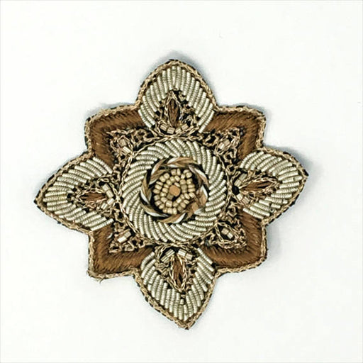 "Embroidered Beaded Ornate Patch Emblem 3 1/2"" - ZipUpZipper"