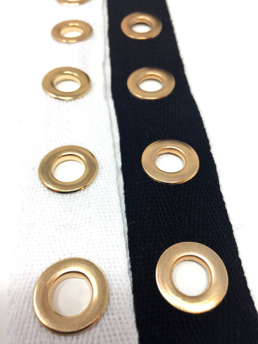 Black OR White Eyelet Gold Plated Cotton Twill Tape By Yard - ZipUpZipper