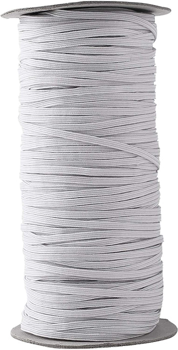 "Stretch Elastic Flat Knit Full Roll 1/4"" to 2""   -Choose Black OR White *1 Roll Per Quantity*"