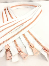 Wholesale White Glossy Rose Gold Two-Way Separating Zipper in 5MM or 8MM Open Bottom - Choose Length -