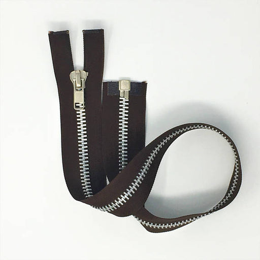"Brown 10MM Nickel Open Bottom Zipper 23"" - ZipUpZipper"