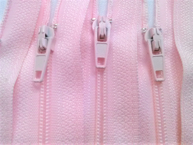 Light Pink #512 Generic Nylon Zippers 12-22 Inches #3 Coil Closed Bottom