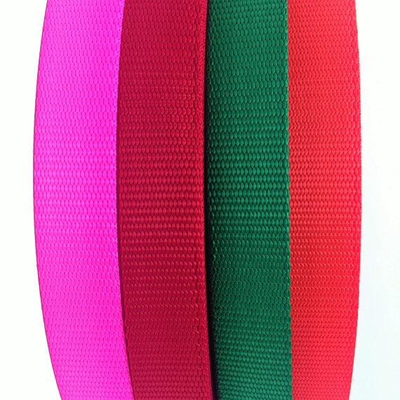 "1"" Wide Nylon Webbing Orange, Fuchsia, Green, Red By Yard - ZipUpZipper"