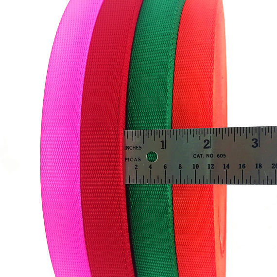 "1"" Wide Nylon Webbing Orange, Fuchsia, Green, Red Full Roll - ZipUpZipper"