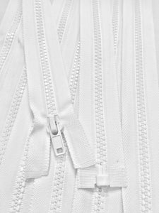 White Molded Plastic Jacket Zipper 21 Inches 5MM SEPARATING
