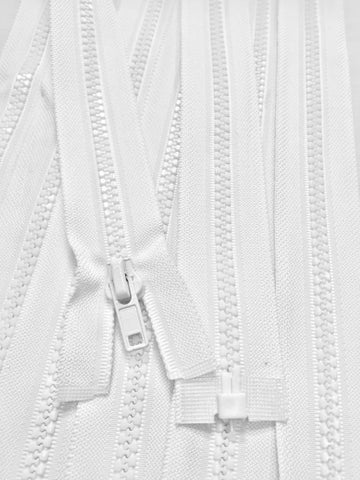 White Molded Plastic Jacket Zipper 21 Inches 5MM SEPARATING - ZipUpZipper