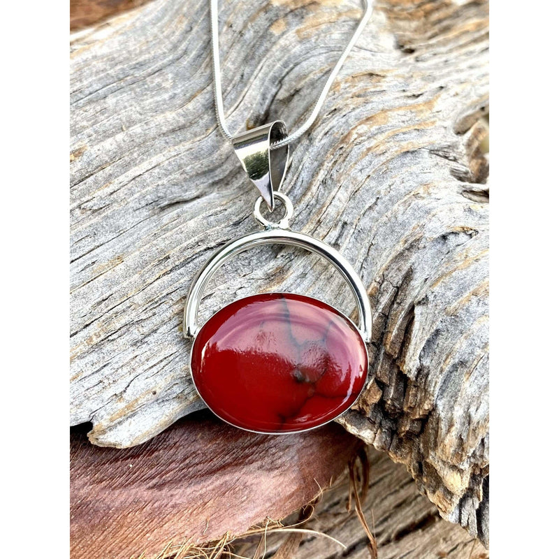N0314 - Oval Red Jasper Necklace
