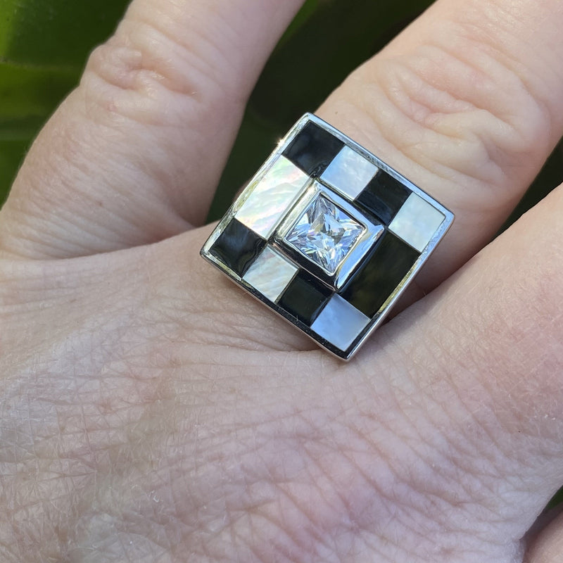 R0143 -  Onyx Mother of Pearl Sterling Ring