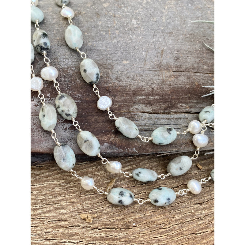 N0337 - Kiwi Jasper Sterling Necklace
