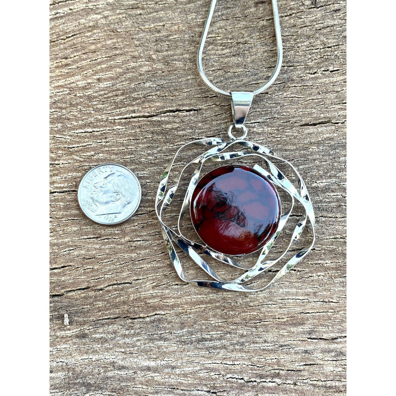 N0323 - Red Jasper Sterling Wired Necklace