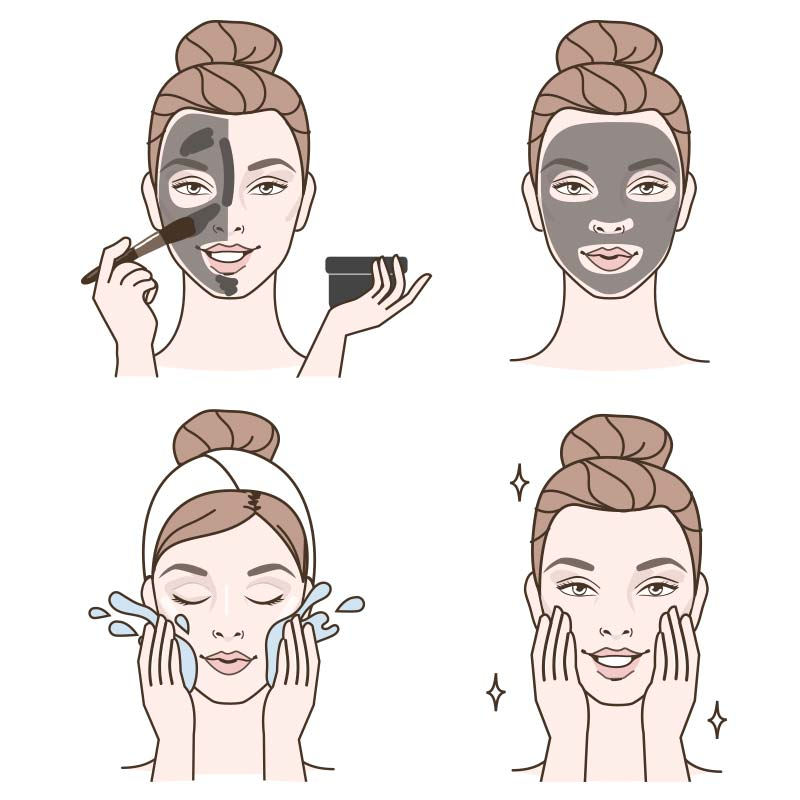 Image of Charcoal Brightening Clay Mask Application