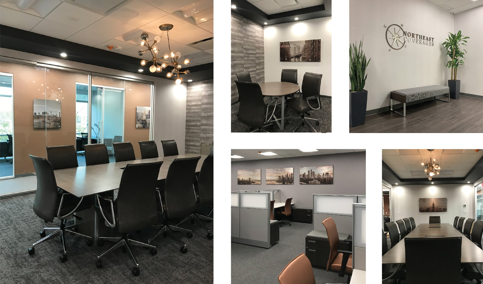 northeast coverages in garden city new york long island nassau county insurance agency office space interior design with custom artwork wallcovering flooring seating lighting branding by id unique solutions inspire design creative studio