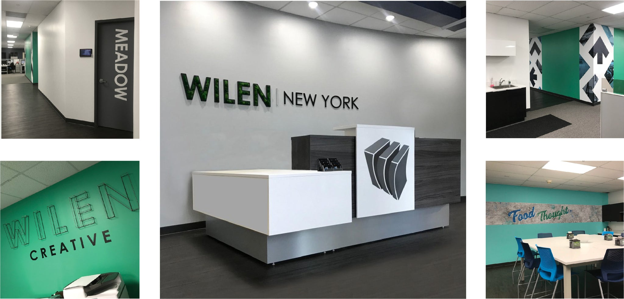 wilen new york in long island ny nassau county advertising marketing group interior design with wallcovering branding flooring lighting logo design reception desk cafeteria design  by id unique solutions inspire design creative studio