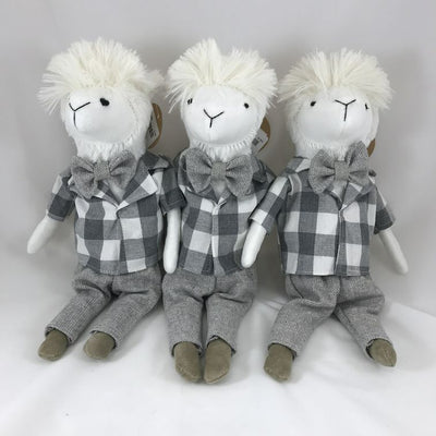 MUD PIE - STUFFED LLAMA WITH PLAID SHIRT