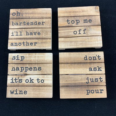WOOD PLANK COASTER SET OF 4