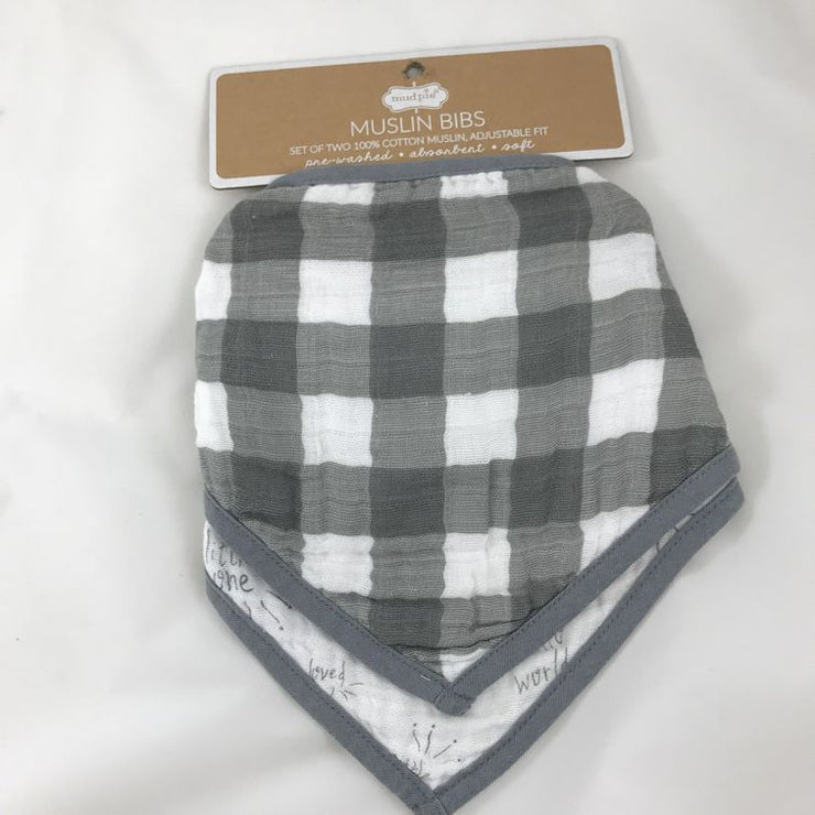 MUD PIE - GREY AND WHITE CHECKERED BIB SET