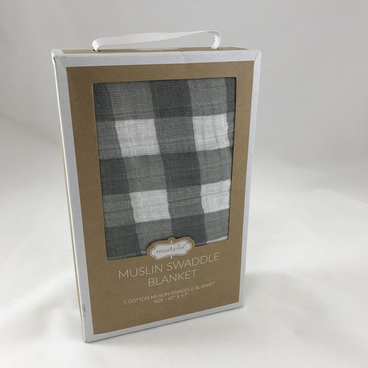 MUD PIE - GREY CHECKERED SWADDLE BLANKET