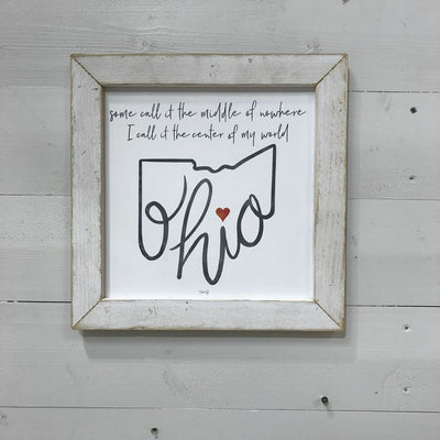 OHIO IS THE CENTER OF MY WORLD WOODEN SIGN