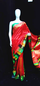 Red Base Green Blouse Raw Silk Saree