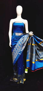 Blue Base Tasar Silk Saree