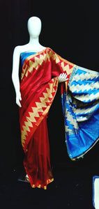 Red Base Blue Blouse Raw Silk Saree