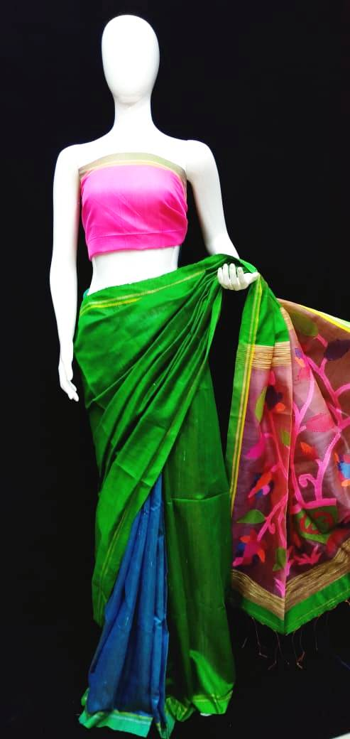 Green Pink Base Raw Silk Maslin Palla Saree