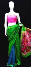 Load image into Gallery viewer, Green Pink Base Raw Silk Maslin Palla Saree