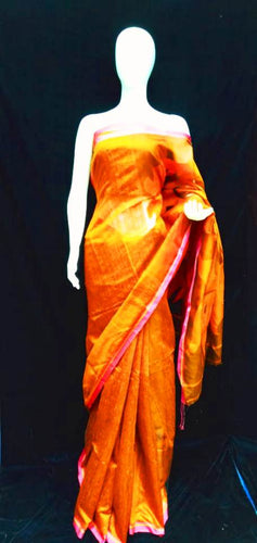 Mustard Yellow Base Raw Silk Maslin Palla