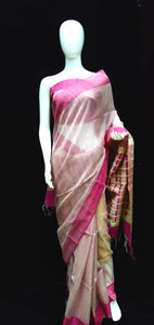 Baige Base Pink Tasar Silk Saree