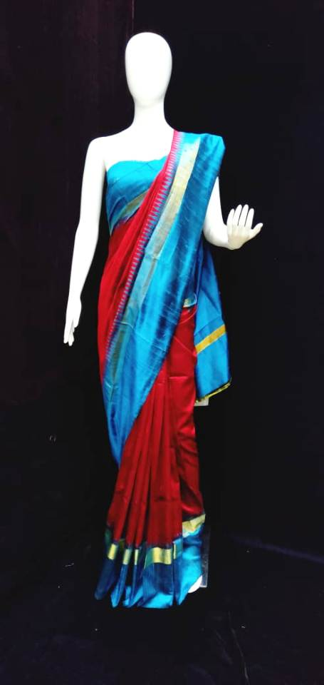 Raw Silk Saree Maroun Blue Combination Tempel Weaving