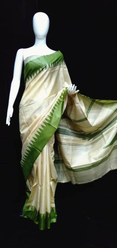 Tasar Color & Green Combination Temple Border Pallu Silk